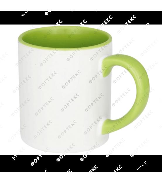 Кружка для сублимации, белая, цветная внутри, цветная ручка, 330 мл, d=82 мм
