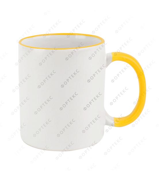 Кружка для сублимации, белая, цветной ободок и ручка, 330 мл, d=82 мм
